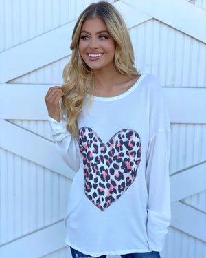 Colorful Animal Print Heart Appliqué Long-Sleeve Top