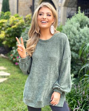 Olive Chenille Banded Sweater