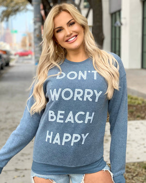 Don't Worry Beach Happy Sueded Drop-Shoulder Pullover Sweatshirt