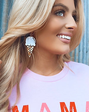 White Ice Cream Cone Earrings