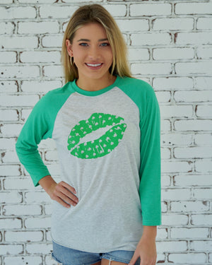 St. Paddy's Day — Clover Kiss 3/4 Sleeve Tee