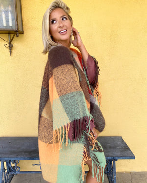 Rust Super Soft Fringe Poncho
