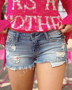 Medium-Wash Distressed Super Stretch Denim Shorts