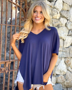 Ultra-Luxe Soft Navy Oversized Top