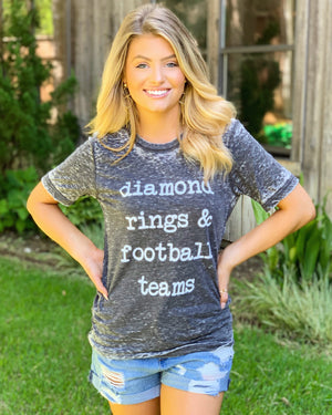 Country Tees For A Cause – Diamond Rings & Football Teams – Unisex Gray Acid-Wash Tee - Live Love Gameday®