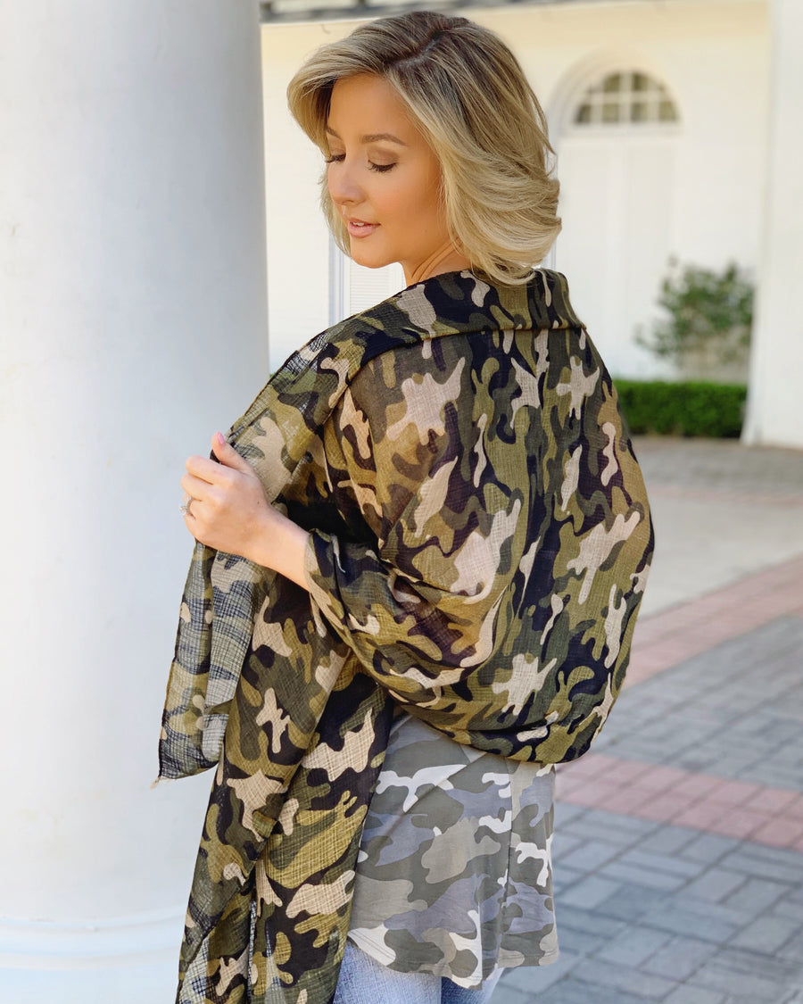 Sheer Oversized Camo Scarf