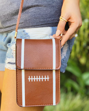 Football Crossbody With Cellphone Texting Clear Pouch