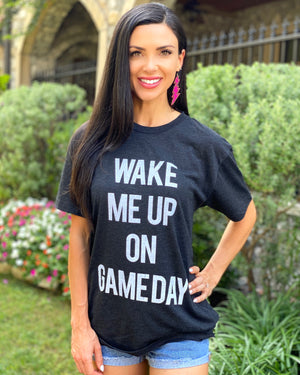 Wake Me Up On Gameday Black Vintage Unisex Tee
