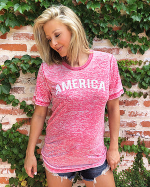 America Curved – Acid-Dipped Tee – Red - Live Love Gameday®