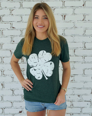 St. Paddy's Day — Dark Green Clover Tee