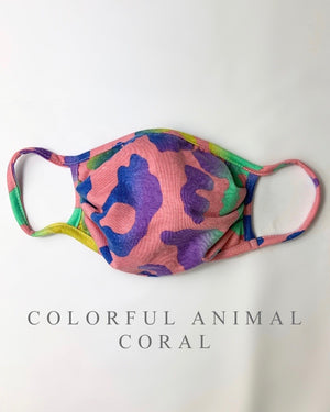 U - Bright Coral Animal Print Double-Layer Daily Face Mask (Pre-Order Ships Approx. 5/4))
