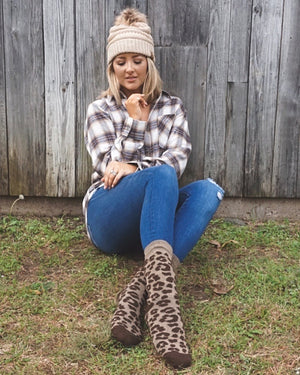 Brown Leopard Lightweight Boot Socks
