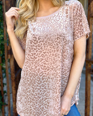 Champagne Burnout Super Soft Leopard Top