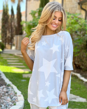 Oversized Super Soft Gray Star Lounge Set