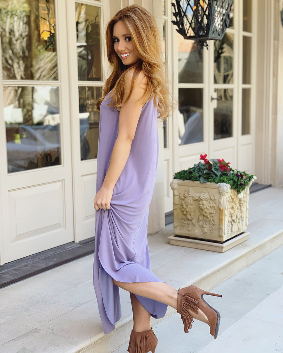 Modal Sandwashed Maxi Dress (Lavender) (Plus Sizes Now Available)