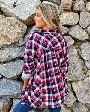 Navy & Red Plaid Stripe Button-Down Shirt