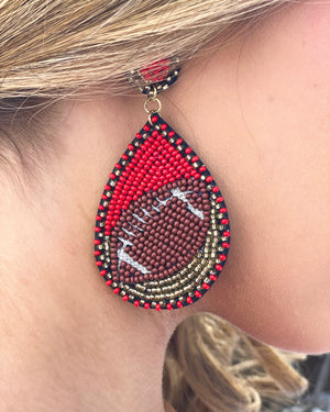 Red/Gold Beaded Football Earrings