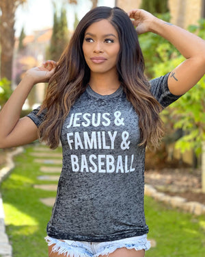 Jesus & Family & Baseball Black Acid-Wash Tee