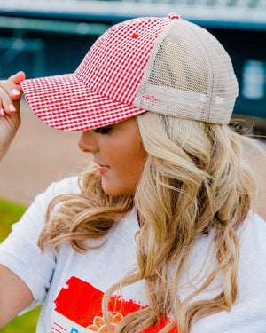 Red Checked Trucker Cap