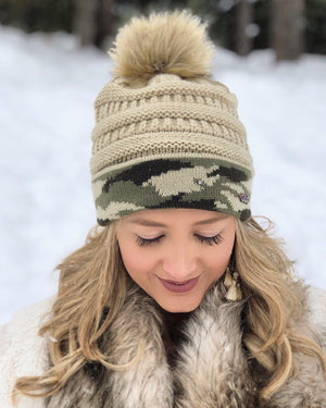Live Love Gameday® Knit Vintage Camo Beanie – With Pom