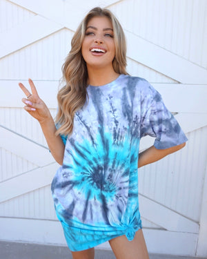 Violet Blue Tie-Dye T-Shirt Dress