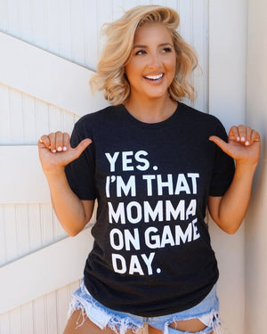 Vintage Black Yes I'm That Momma On Game Day Tee