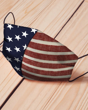 B - American Flag Cotton Fitted Daily Face Cover