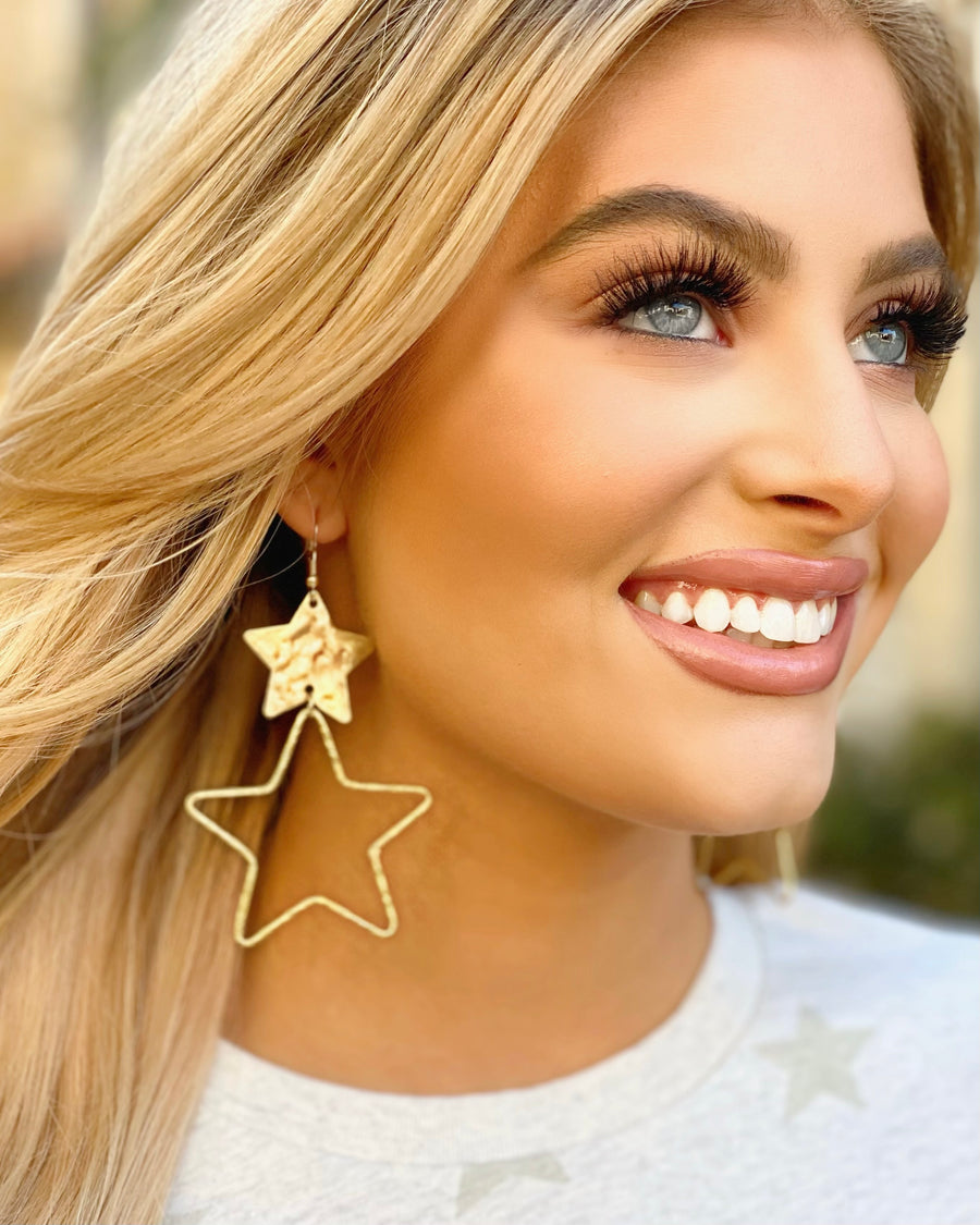 Antique Gold Star Earrings