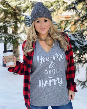 You + Me & Coffee = Happy Short-Sleeve Cut-Out Neckline Tee