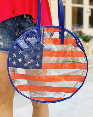 Large American Flag Round Clear Tote Bag