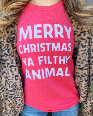 Holiday Vintage RED Merry Christmas Ya Filthy Animal Unisex Tee