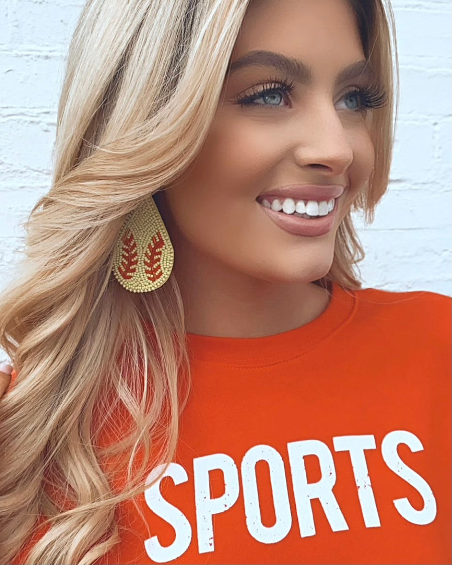 Beaded Softball Drop Earrings