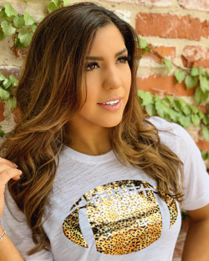 Cheetah Distressed Metallic Bronze Foil Football Tee