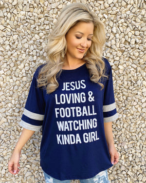 "Football – Jesus Loving & Football Watching Kinda Girl – Oversized ""Super Soft"" Jersey Tee"