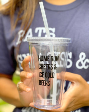 Home Run Cheers & Ice Cold Beers 16 Oz. Clear Cup With Straw