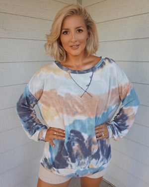 Blue Watercolor Oversized Pullover
