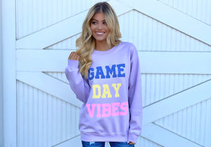 Game Day Vibes Lavender Comfy Sweatshirt