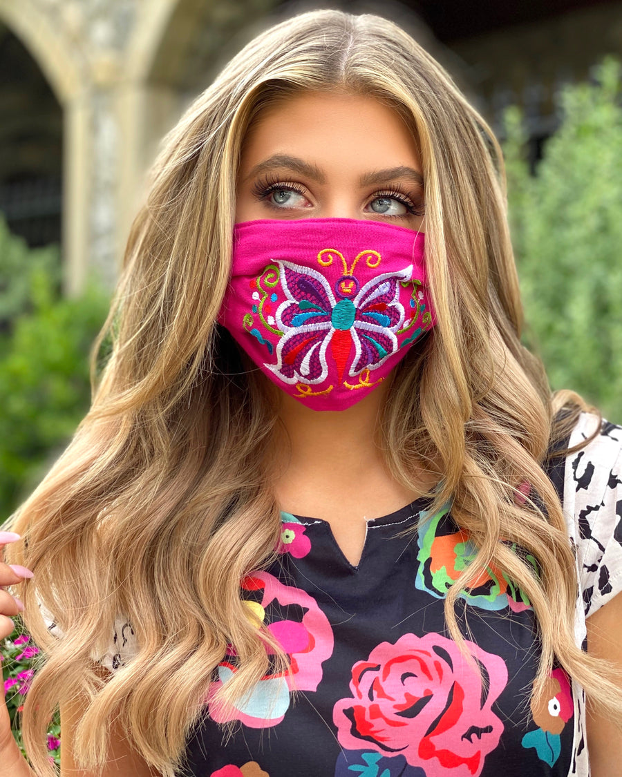 Hot Pink Colorful Embroidered Butterfly Mask