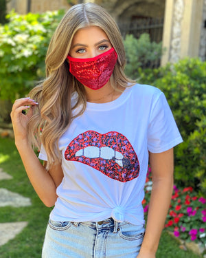 Red Sequin Face Cover