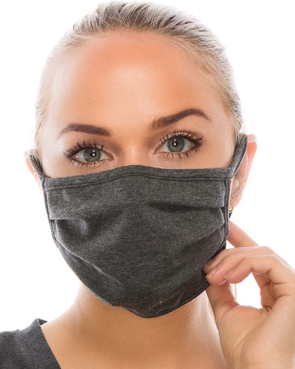 Solid Charcoal Double-Layer Daily Face Mask (Pre-Order Ships Approx. 5/29)
