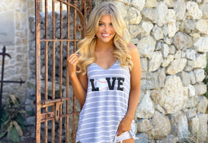 LOVE Baseball Gray Stripe Tank