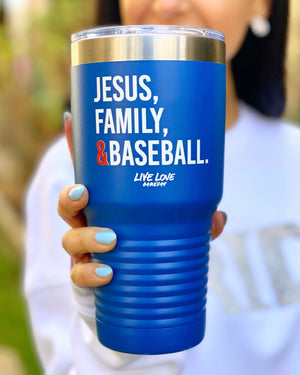 Blue Jesus, Family & Baseball 32 oz. Tumbler