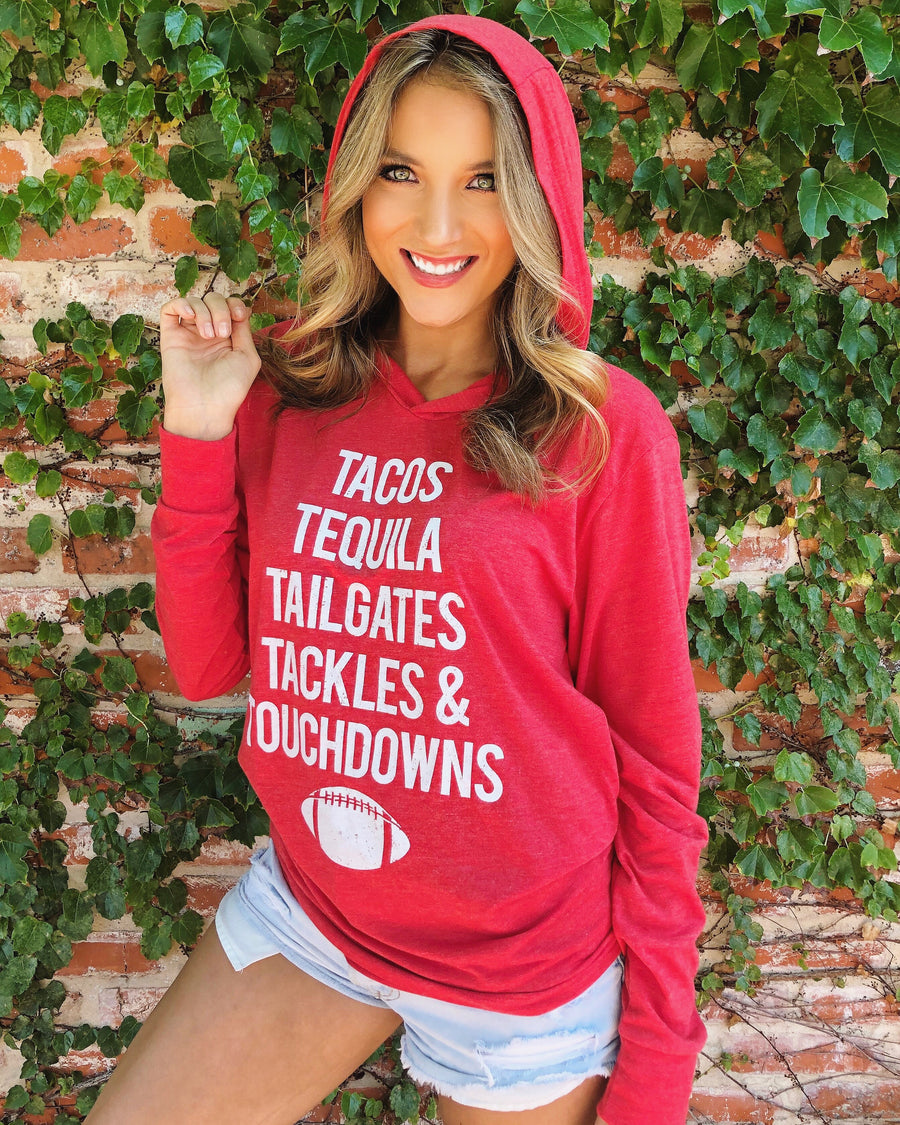 Football – Tacos, Tequila, Tailgates, Tackles & Touchdowns – Long-Sleeve Unisex Lightweight Hoodie