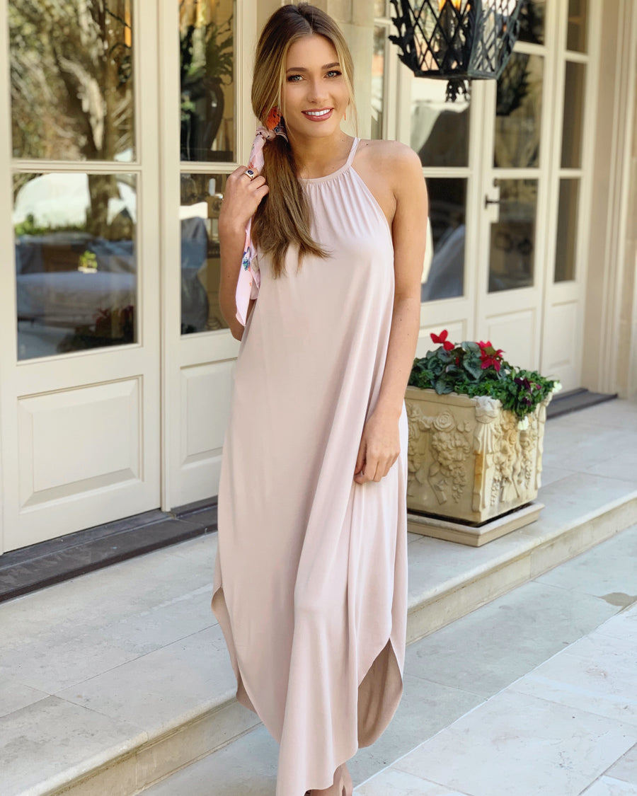 Modal Sandwashed Maxi Dress (Sand) (Plus Sizes Now Available)
