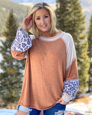 Faded Rust Solid + Leopard Mixed Top