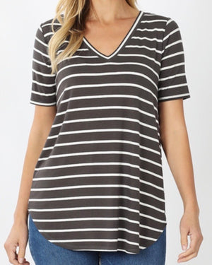 Gray Super Soft Striped V-Neck Short-Sleeve Top (S-3XL)