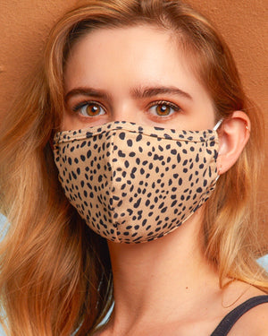 OO - Taupe/Black Animal Daily Face Cover With Filter Slot (Pre-Order Ships Approx. 5/29)