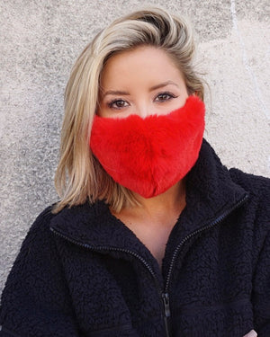 Red Faux Fur Fuzzy Winter Animal Print Daily Face Cover