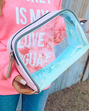 Pink Iridescent Cosmetic Bag