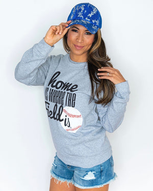 Home Is Where The Field Is® Baseball Gray Comfy Sweatshirt